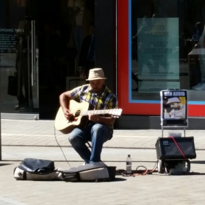 Busker in Leeds City Centre